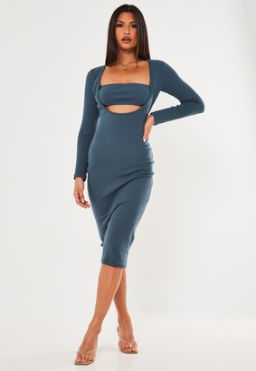 Missguided Blue Rib Bandeau Insert Midi Dress