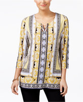JM Collection Printed Embellished Tunic, Only at Macy's