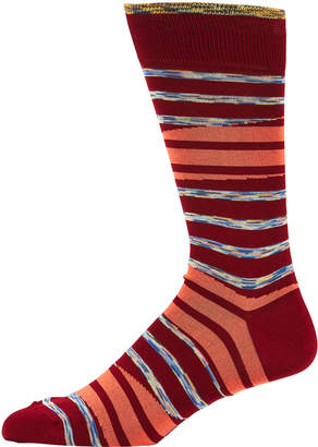 Bugatchi Men's Striped Crew Socks