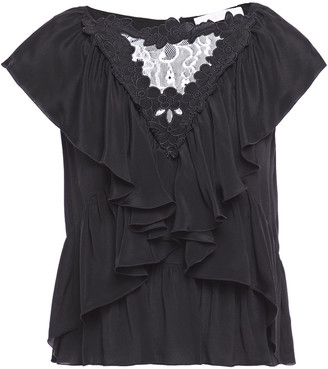See by Chloe Lace-paneled Ruffled Crepe De Chine Top