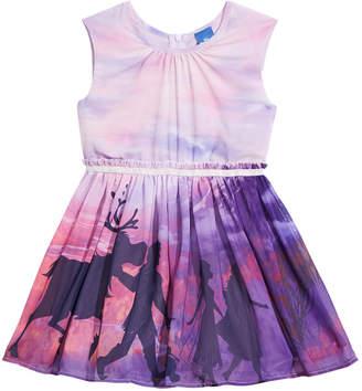 Disney Little Girls Frozen Motif Sunset Dress