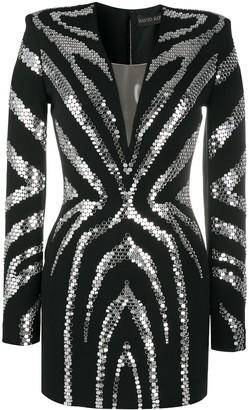 David Koma Metal-Embellished Cocktail Dress
