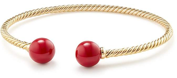 David Yurman Solari Bead Bracelet with Red Enamel in 18K Gold