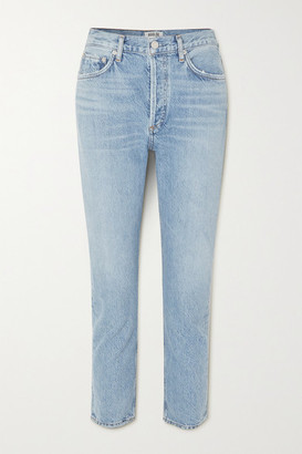 A Gold E Agolde AGOLDE - Riley Cropped Organic High-rise Straight-leg Jeans - Light denim