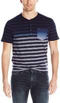 Calvin Klein Jeans Men's Short Sleeve Stripe Ombre Dip Dye Henley