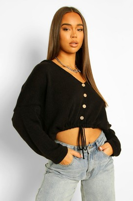 boohoo Crop Drawstring Hooded Cardigan