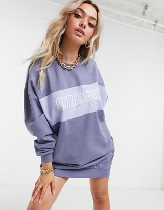 ASOS DESIGN mini sweatshirt dress with oregon logo in dusty blue