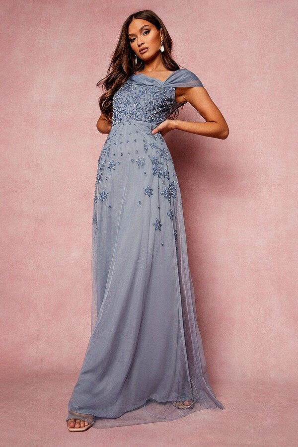 Thumbnail for your product : boohoo Bridesmaid Hand Embellished Bow Detail Maxi