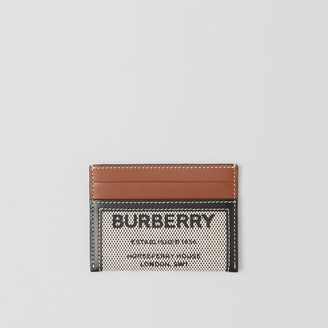 Burberry Horseferry Print Cotton Canvas and Leather Card Case