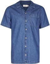 Topman Blue Revere Collar Short Sleeve Denim Shirt