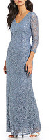 Marina 3/4-Sleeve Sequin Lace Gown