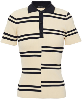 Rokh Striped Ribbed-knit Polo Shirt