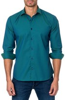 Jared Lang Men's Trim Fit Dot Check Sport Shirt