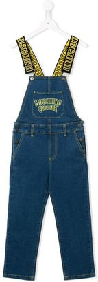 MOSCHINO BAMBINO Logo Embroidered Denim Dungarees