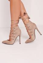 Missguided High Back Lace Up Court Shoe Nude