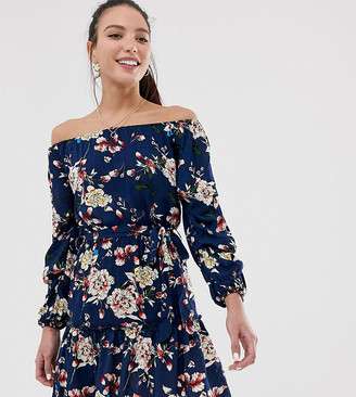 Parisian Tall off shoulder skater dress in navy floral