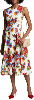 Carolina Herrera Floral-Print Sleeveless A-Line Dress