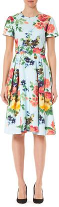 Carolina Herrera Floral Print Poplin Short-Sleeve A-Line Dress