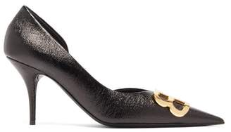 Balenciaga Bb-logo Patent-leather D'orsay Pumps - Womens - Black Gold