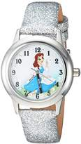 Disney Girl's 'Princess Belle' Quartz Stainless Steel Casual Watch, Color:Silver-Toned (Model: WDS000192)