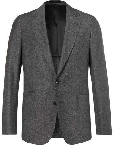 Paul Smith Dark-Grey Soho Slim-Fit Mélange Wool And Silk-Blend Suit Jacket