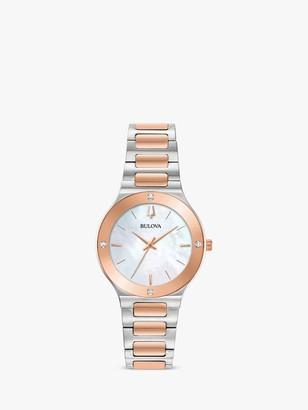 Bulova 98R274 Women's Modern Diamond Bracelet Strap Watch, Silver/Rose Gold