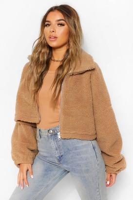 boohoo Petite Teddy Faux Fur Oversized Bomber Jacket