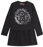 Roberto Cavalli Black Sequin Logo Sweater Dress