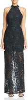 ABS by Allen Schwartz Mock Neck Lace Gown