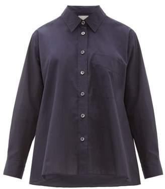 Margaret Howell Trapeze Cotton-poplin Shirt - Womens - Navy