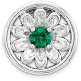 Zales Stackable Expressionsa 3.5mm Lab-Created Emerald Small Daisy Charm in Sterling Silver