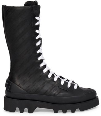 Givenchy Lug-Sole Logo Leather Combat Boots
