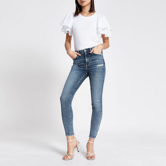 River Island Blue ripped Hailey high rise skinny jeans