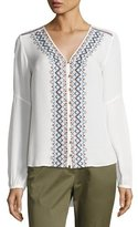 Veronica Beard Dream Long-Sleeve Embroidered Silk Blouse, Off White