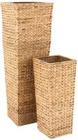 Very Set of 2 Medium Sized Arrow Weave Vases with Square Base - Natural