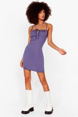 Nasty Gal Womens Don't Tie Stop Us Ribbed Mini Dress - Denim-Blue