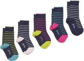 Joules Five Pack Bamboo Ankle Girls Socks Se - S/M - UK 9-12 / EU 27-31/ US10-13