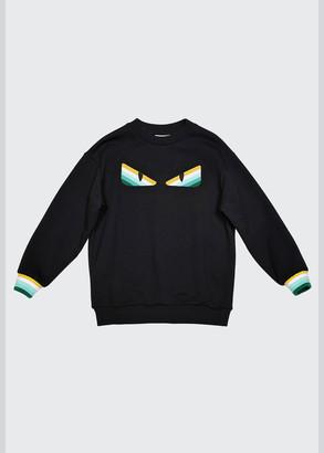 Fendi Boy's Striped Monster Eye Crewneck Sweater, Size 4-6