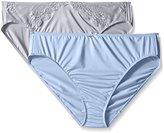 Ellen Tracy Women's 2 Pack Microfiber Hi Cut Brief with Lace Panty