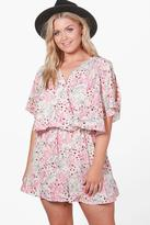 Boohoo Plus Bethany Flippy Floral Print Playsuit cream