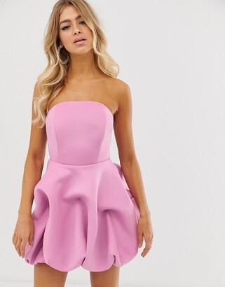Asos Design DESIGN bandeau bubble hem mini dress