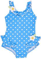 Florence Eiseman Polka-Dot Ruffle Swimsuit, Blue, Size 2T-4T