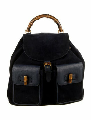Gucci Vintage Suede Bamboo Backpack Navy