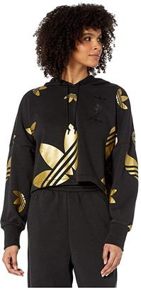 adidas Large Logo Cropped Hoodie (Black/Gold Metallic) Women's Clothing