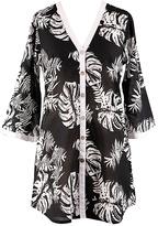 Black & White Flourish Kimono-Style Cover-Up