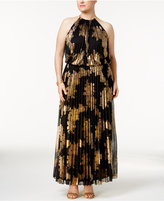 MSK Plus Size Metallic-Print Pleated Blouson Halter Gown