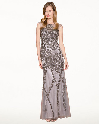 Le Château Beaded Mesh Illusion Gown