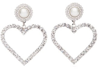Alessandra Rich Crystal And Faux-pearl Heart Clip Earrings - Crystal