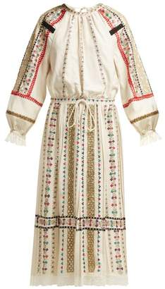 Valentino Sequin Embroidered Lace Trimmed Dress - Womens - Ivory Multi