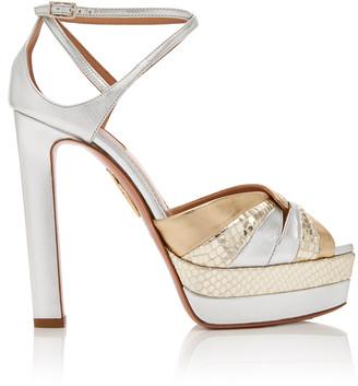 Aquazzura La Di Da Metallic Snake-Effect Leather Platform Sandals
